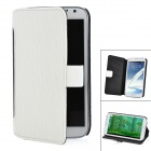 A3508 Protective PU Leather Case w/ Card Slot for Samsung Galaxy Note 2 N7100 - White + Black