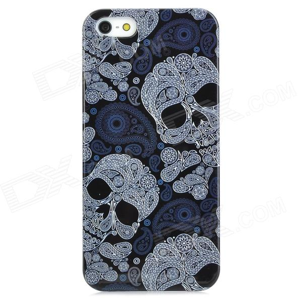 Skull Head Pattern Protective PC Hard Back Case for Iphone 5 - Black + White virgo pattern protective abs pc hard back case w rhinestone for iphone 5 deep pink white