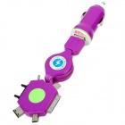 2-in-1 Car Cigarette Lighter Charger + USB Stretching Cable for iPhone 4 / 4S - Purple