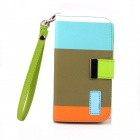 Protective Flip Open PU Leather Case w/ Card Slots Strap for Samsung I9300 - Multicolored