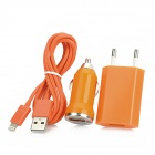 3in-1 USB 8Pin Charging & Datenkabel + 2-Round-Pin Stecker + Mini Car Charger für iPhone 5 - Orange