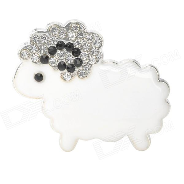 DIY Cartoon Sheep w/ CrystalDecoration for Cellphone - White + Silver