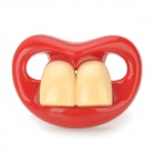 Funny Buck Teeth Baby Pacifier Soother Nipple - Red + Ivory White