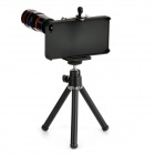 8X Telephoto Lens w/ Holder + Mini TrIpod for Iphone 4 - Black