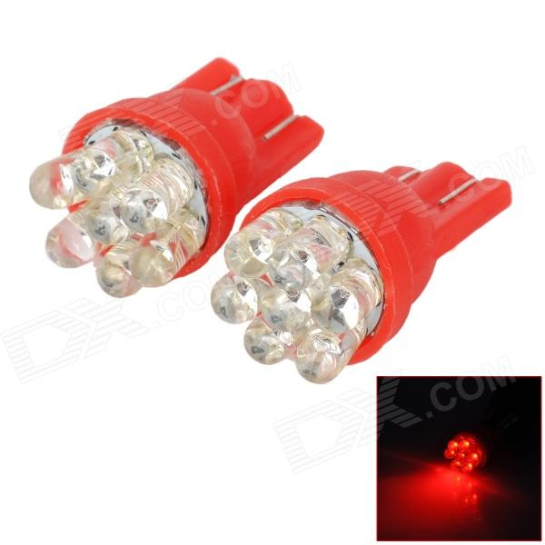 D13010812X T10 0.3W 90lm 640nm 7-LED Red Light Car Width Lamps (2 PCS) ly258 t10 1w 90lm led pink light car width lamps 2 pcs