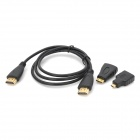 JJB v1.4 HDMI Male to HDMI Male Connection Cable w/ Mini / Micro HDMI Adapters - Black (1m)