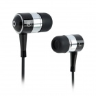 SE08 3.5mm Plug Aluminum Alloy Stereo In-Ear Earphone - Black + Silver (125cm-Cable)