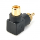 Gold Plated Head RCA Male to Female Right Angle Converter Adapter - Black
