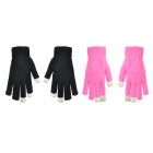 Couple's Capacitive Screen Touching Hand Warmer Gloves - Deep Pink + Black (Free Size / 2 Pairs)