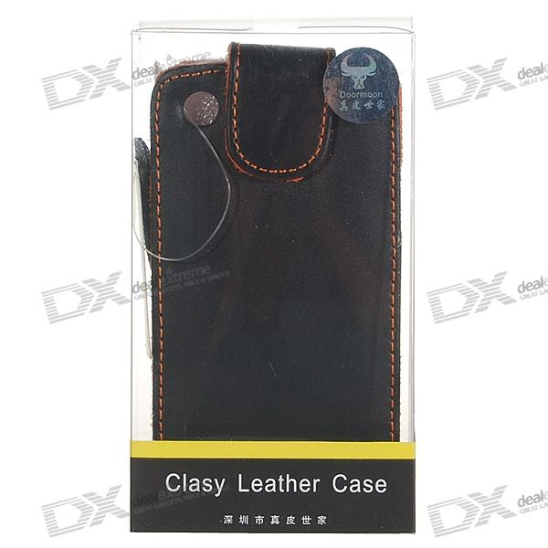 Quality Leather Protective Case for Iphone 3g (Black + Orange)