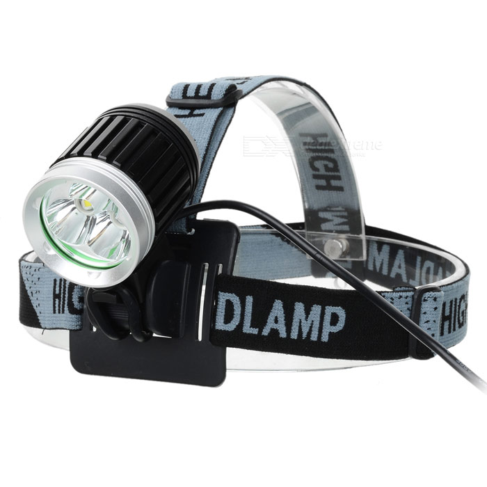 YP-3054 2400lm 4-Mode White Bicycle Headlamp w/ 3 x Cree XM-L T6 - Black + Silver (4 x 18650) 600lm 3 mode white bicycle headlamp w cree xm l t6 black silver 4 x 18650