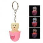 Cute Cartoon Dog Figure Toy Keychain w/ Sound and Light Effects - Pink + Light Yellow (3 x AG13)