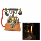 PT-1805 Retro Telephone Yellow Flame Butane Lighter - Bronze + Reddish Brown