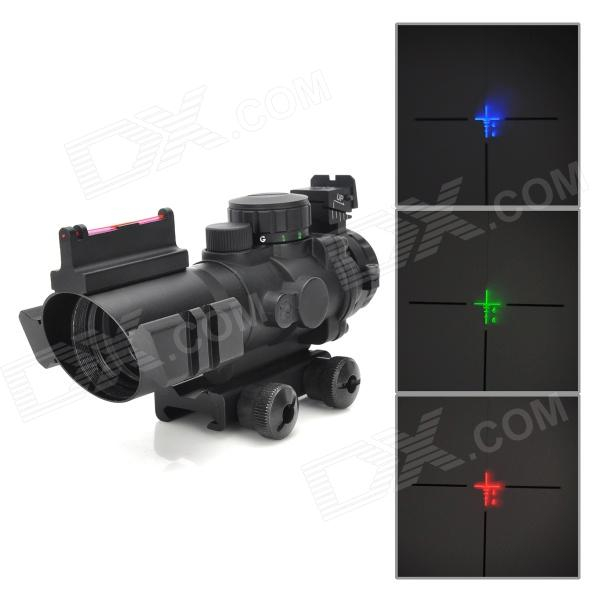 Sniper LT-4X32 4X Magnification Red / Green / Blue Optical Aim Sight - Black (2 x CR2032)Gun Scopes &amp; Sights<br>Model:Form  ColorBlackMaterial:Quantity:Mount TypePica-tinnyMagnification:Objective Diameter:Exit Pupil Diameter:Adjustment Graduation:Laser ColorRed,GreenPacking List<br>