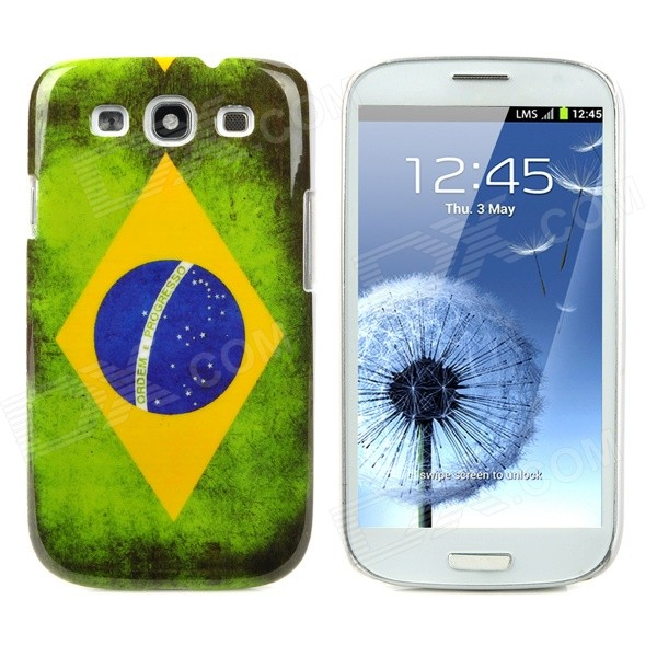 Brazil Flag Pattern Protective Back Case for Samsung Galaxy S3 / I9300 - Green + Yellow + Blue protective round tribe tattoo pattern back case for samsung galaxy s4 i9500 green blue yellow