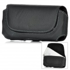 Protective PU Leather Waist Clip Case w/ Snap Button for Iphone 5 - Black