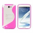 Protective TPU Silicone Back Case w/ Stand for Samsung N7100 - Purplish Red + Transparent