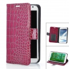 Protective Crocodile Grain PU Leather Case for Samsung Galaxy Note 2 N7100 - Deep Purple