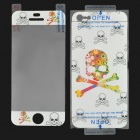 Protective PET Screen Guard + Skull Pattern Back Sticker for Iphone 5