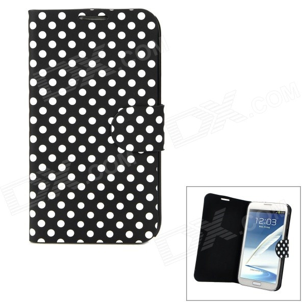 Polka Dots Pattern Protective PU Leather Top Flip-open Case for Samsung N7100 - Black + White