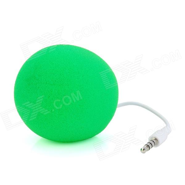 Ball Style Portable Mini Sponge Speaker for Iphone + Ipad + PC - Green + White
