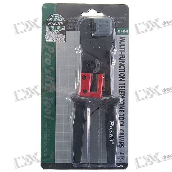 Multi-Function RJ11 Telephone and RJ45 Network Cable Crimping Tool with Cable Stripper