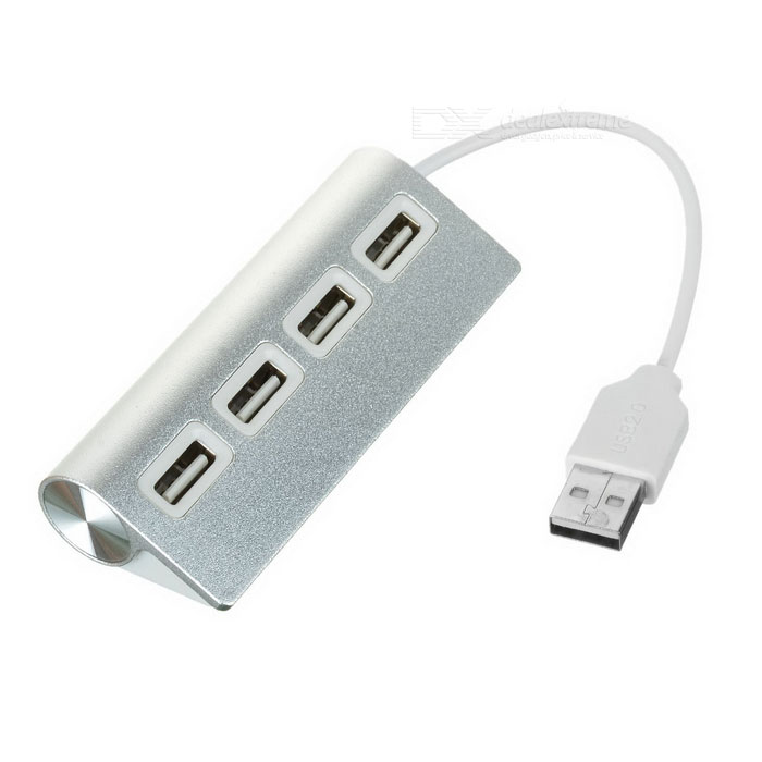 I-1006 Aluminum Alloy 4-Port USB 2.0 HUB - Silver + White