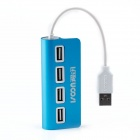 I-1006 Aluminum Alloy 4-Port USB 2.0 HUB - Blue + White