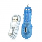 Car Power Adapter + USB to 8-Pin Lightning Charging Data Cable Set for iPhone 5 - Translucent Blue