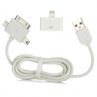 USB auf Micro USB + Mini USB + Apple 30pin Adapter Cable w / 30pin auf 8pin Adapter - White