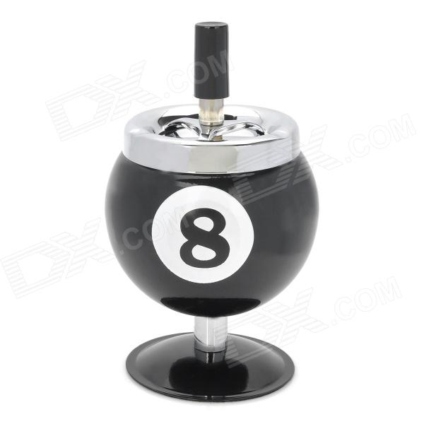 8 Billiards Ball Style Rotatable Metal Ashtray - Black + Silver ashtray