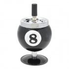 8 Billiards Ball Style Rotatable Metal Ashtray - Black + Silver