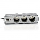 LSON 0120 1-to-3 USB Car Cigarette Lighter Power Splitter - Black