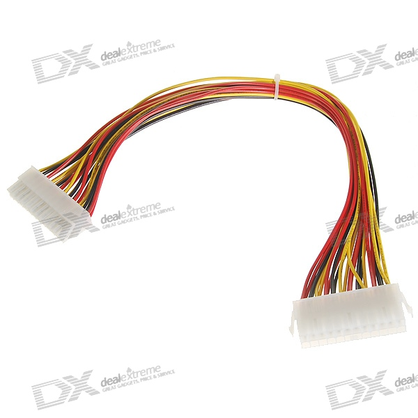 24-Pin Male to Female ATX Power Extension Cable - Multicolored (33cm)