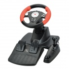 DILONG PU808 Racing Wheel Controller w/ Hand Brake + Foot Pedal - Black + Red