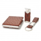 iwoo C03 Butane Lighter + Keychain + Cigarette Box Set - Brown + Silver