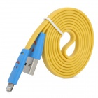 LED Lighting Smile Face Pattern USB to 8 Pin Lightning Data + Charging Cable - Yellow + Blue