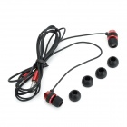 D9 Aluminum Alloy Stereo In-Ear Earphone - Black + Red (125cm-Cable)