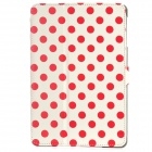 Polka Dot Pattern Protective Wake-UP/Sleep Case w/ Card Slot for Ipad MINI - Red + White
