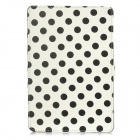 Polka Dot Pattern Protective Wake-UP/Sleep Case w/ Card Slot for Ipad MINI - White + Black