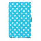 Polka Dot Pattern Protective Wake-UP/Sleep Case w/ Card Slot for Ipad MINI - Blue + White