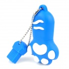 Креативные Cat Paw USB 2.0 Flash Drive W / Chain - синий + белый (8GB)