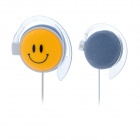 Fashion QQ Smiley Face Style Ear Hook Earphone - Yellow + White (113cm Cable)