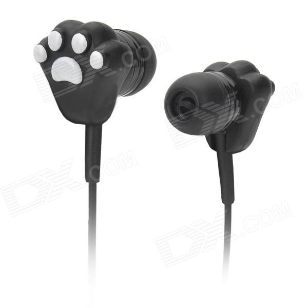 Cat Paw Pattern In-ear Earphone for MP3 / MP4 / Cellphone / Computer + More - Black + White (115cm)