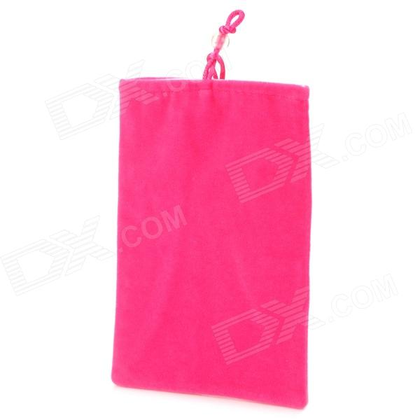 Universal Velveteen Pouch Bag for 5'' Cellphone Samsung N7100 / I9300 / P990 - Deep Pink