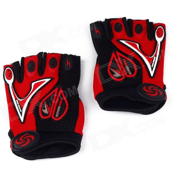 Professional Love Heart Style Anti-Slip Breathable Half-Finger Riding Gloves - Red (Size M)