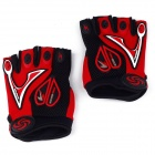 Professional Love Heart Style Anti-Slip Breathable Half-Finger Riding Gloves - Red (Size L)