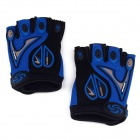 Professional Love Heart Style Anti-Slip Breathable Half-Finger Riding Gloves - Blue (Size L)