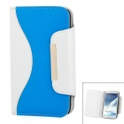 Protective Flip-Open Leather Case w/ Card Slot for Samsung Galaxy Note 2 N7100 - White + Blue