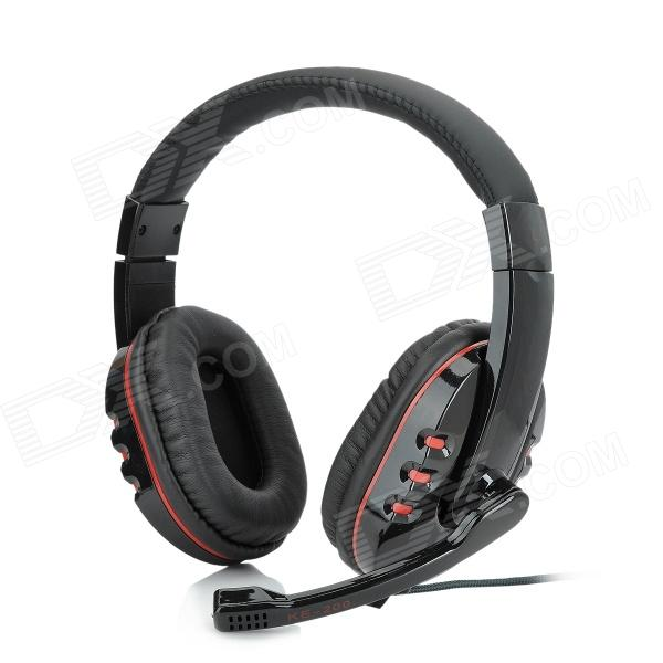 KEEKA KE-200 Headset Headphone w/ Microphone - Black + Red (175cm)